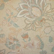 Biscuit & Teal Chenille Upholstery Fabric - Sardinia 2562
