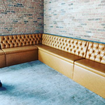 Fixed seating in Tan Faux Leather