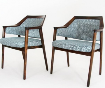 1960s chairs in Kingfisher Crown Flat Weave