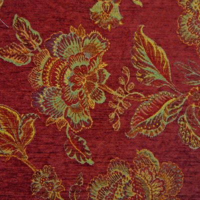 Medici Red Chenille Upholstery Fabric - Palazzo 2753