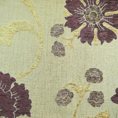 Purple, Lemon Gold  Chenille Upholstery Fabric - Verdi 1731