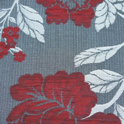 Claret, Charcoal  Chenille Upholstery Fabric - Vicenza 1853